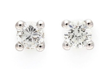 NOT SOLD. A pair of diamond ear studs each set with a brilliant-cut diamond weighing a total of app. 1.00 ct., mounted in 18k rhodium plated gold. I/SI-P. (2) – Bruun Rasmussen Auctioneers of Fine Art