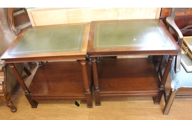 A pair of reproduction mahogany American style two tier occa...