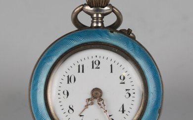 A silver gilt and enamelled keyless wind open-faced lady's fob watch with unsigned cylinder mov