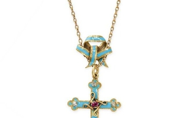 AN ANTIQUE RUBY, DIAMOND AND ENAMEL CROSS PENDANT AND