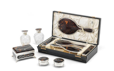 An Edwardian silver and piqué tortoiseshell casket and nine additional items
