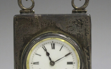 An Edwardian silver cased carriage timepiece, the movement with platform escapement, the enamel dial