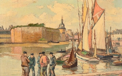"""André DEMOLY (1889-1961) """"Concarneau, sailors in discussion in front of the walled city"""" hst sbd 27x35"""