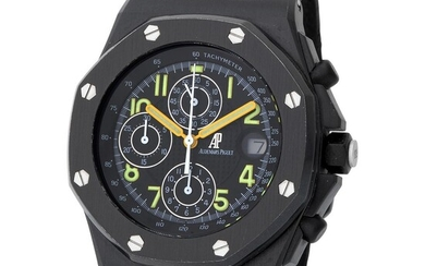 """Audemars Piguet. Special and Very Rare Royal Oak Offshore """"End of Days"""" Automatic Wristwatch in PVD Black Coating, Reference 25770 ST, With Box and Extract from the Archives."""