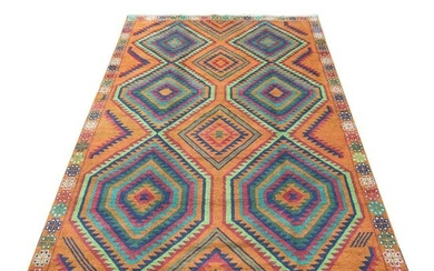 Burnt Orange Afghan Baluch Hand Knotted Geometric