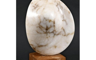CONTEMPORARY MARBLE SCULPTURE a shaped block of marble, moun...