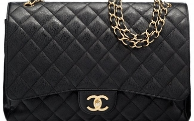 Chanel Black Quilted Caviar Leather Maxi Double
