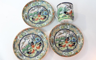 Chinese Famille Rose Porcelain Plates and Saucer