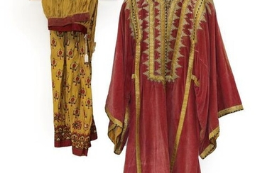 Early 20th Century Pink Velvet Eastern Robe, with decorative appliquéd...