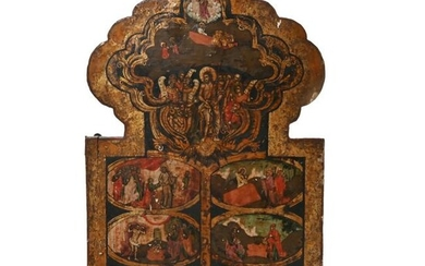 Eastern Orthodox Carved and Painted Icon, Probably