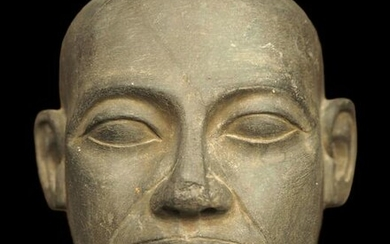 Egyptian schist head of a priest
