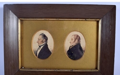 English School (19th Century) Watercolour, Pair of Gentleman...