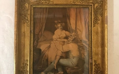 Enhanced engraving - with frame - Paper, the frame in wood, gesso and gilt - Late 19th century