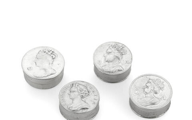 Four Queen Anne silver counter boxes