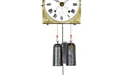 (-), French 19th century Comtoise clock with address...