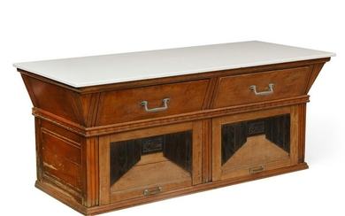 French Art Deco parcel cherrywood baker table