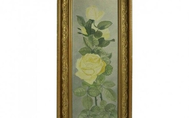 French Oil on Board Still Life of Roses Yard Long c1900