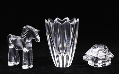 GLASS OBJECTS, 3 pcs, partially signed, Bertil Vallien, Orrefors.