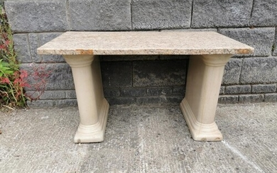 Garden table with stoneware pedestals and marble top {63 cm ...