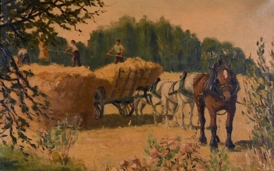 George Lattes (20th Century) French. A Harvesting Scene, Oil...