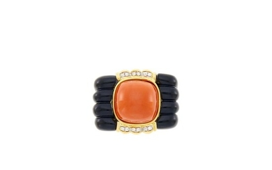 Gold, Coral, Black Onyx and Diamond Ring