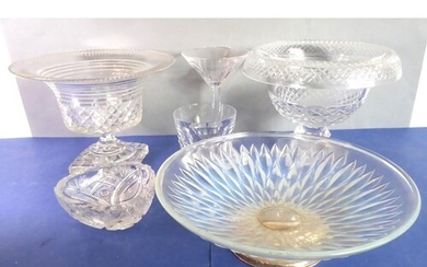 Good glassware to include two cut-glass, urn-shaped pedestal...