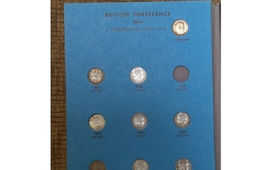 Great Britain Threepence silver collection 1902 to 1945 miss...