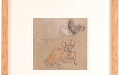 Horace Mann Livens RBA (1862-1936), Study with Dog and Hens,...
