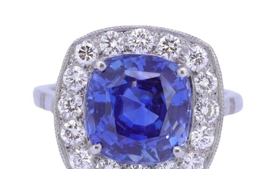 IMPORTANT BLUE SAPPHIRE AND DIAMOND PLATINUM RING, set with ...
