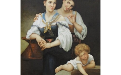 Italian School (20th century), Two girls and a young child ...