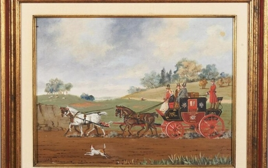 John Terry, British , Horse-drawn carriage with riders