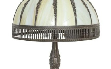 Lamp with Rose Motif, Stained Glass Table Top Lamp