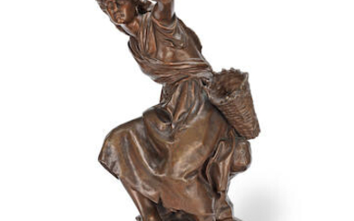 Mathurin Moreau (French, 1822 -1912): A patinated bronze figure of a peasant girl