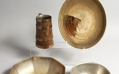 POLO INTEREST: A VICTORIAN OAK TANKARD WITH PLATED MOUNTS, t...