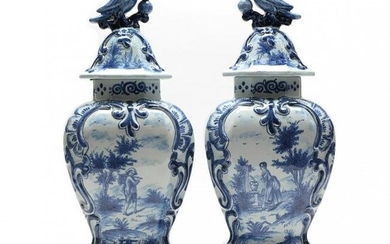 Pair of Dutch Delft Blue and White Mantel Vases