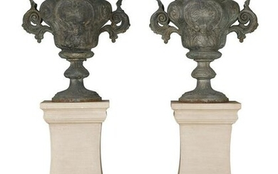 Pair of Rococo Revival Cast Iron Urns
