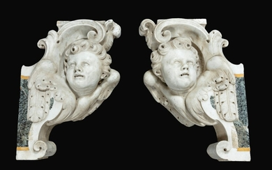 Pair of scrolls decorated with angel's heads, South Italian, Neapolitan, 18th century
