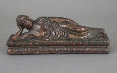 RECLINING BUDDHA - Sino-Tibetan, bronze alloy, coated with gold lacquer.