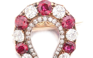 Silver-Topped Gold, Ruby and Diamond Brooch
