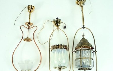THREE HANGING GAS LAMPS GLASS SHADES C.1900