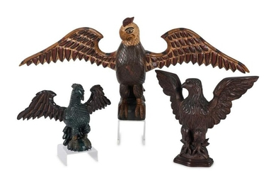 Three Carved and Polychrome Painted Wood Eagles