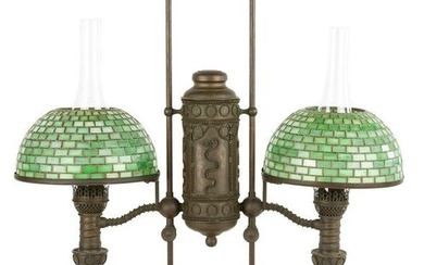 Tiffany Studios, New York Double Student Lamp with