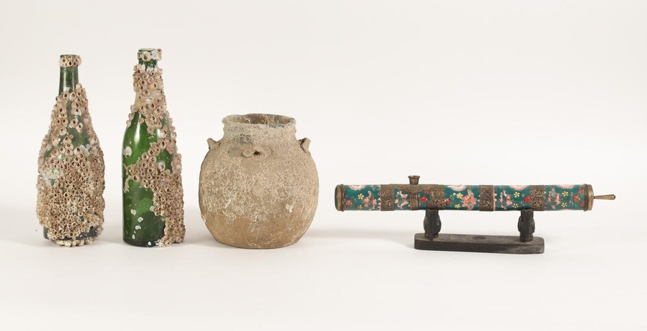 Two Glass Bottles and Pottery Vessel with Sea Accretions, and a Porcelain Opium Pipe FR3SHLM