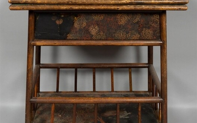 VICTORIAN JAPANNED RATTAN GAMES TABLE