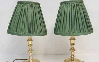 VINTAGE PAIR BRASS CANDLESTICK LAMPS