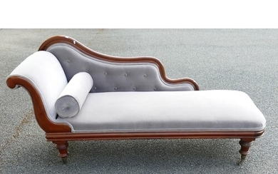 Victorian Mahogany reupholstered Chaise Lounge