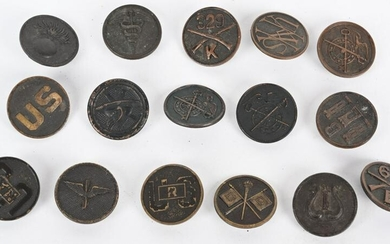 WWI US ARMY COLLAR DISK LOT OF 16 INFANTRY WW1