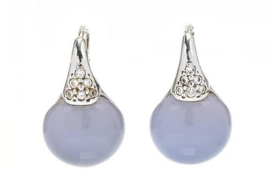 White Gold, Blue Chalcedony, and Diamond Earrings