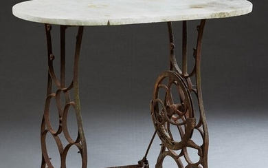 White Marble Top Patio Table, 20th c., the rounded side