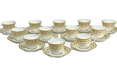12 Minton Porcelain Cup & Saucers in Jubilee